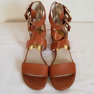 Michael Kors Brown Leather Gladiator Sandals
